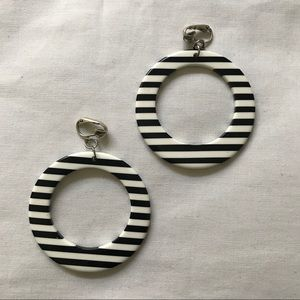 Vintage Hoop Clip On Earrings Black&White Stripes